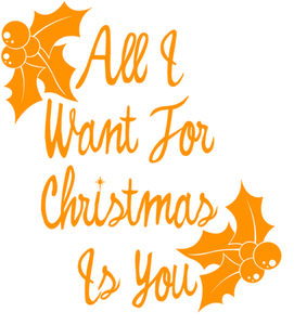 Vel Strijkletters All I Want For Christmas Flex Neon Oranje - afb. 2